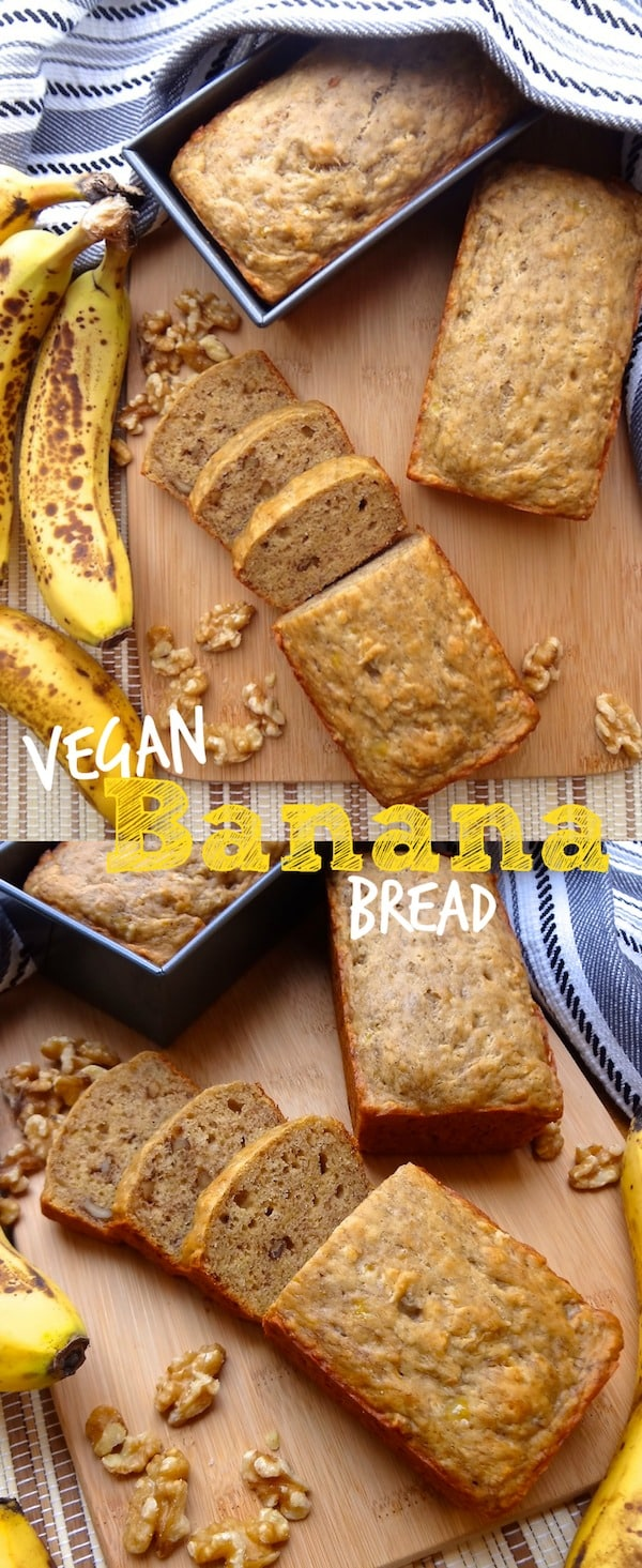 A pinterest collage of easy vegan banana bread with walnuts.