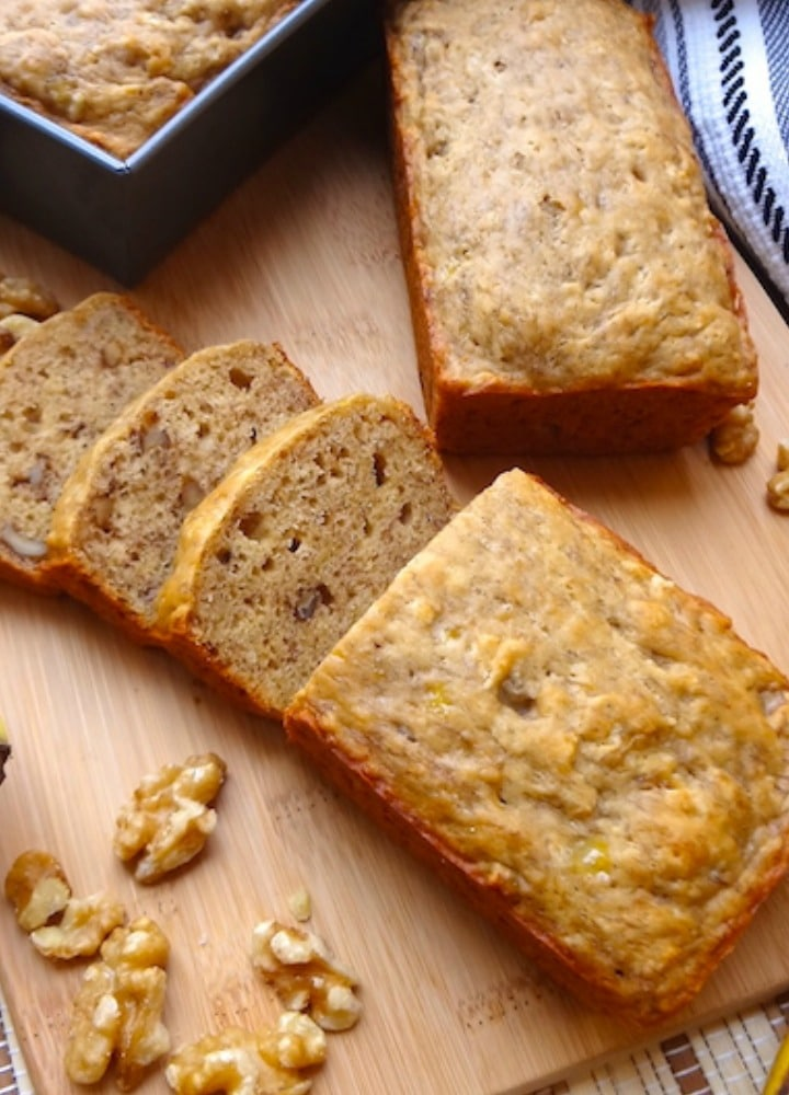 Vegan banana bread close up.