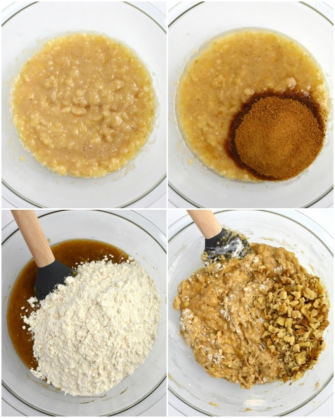 A collage of steps to make vegan banana bread.
