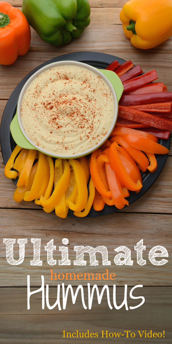 This is THE Best Hummus dip!  It has a smooth classic, lemon-garlic taste you are looking for.  This healthy, quick and easy recipe can be whipped up in under 10 minutes!