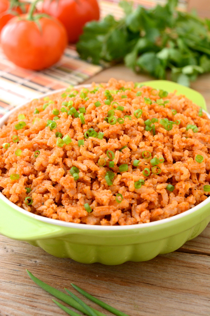 Easy instant pot spanish rice in a green serving bowl
