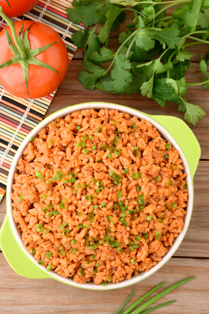 Easy instant pot spanish rice topped with chives