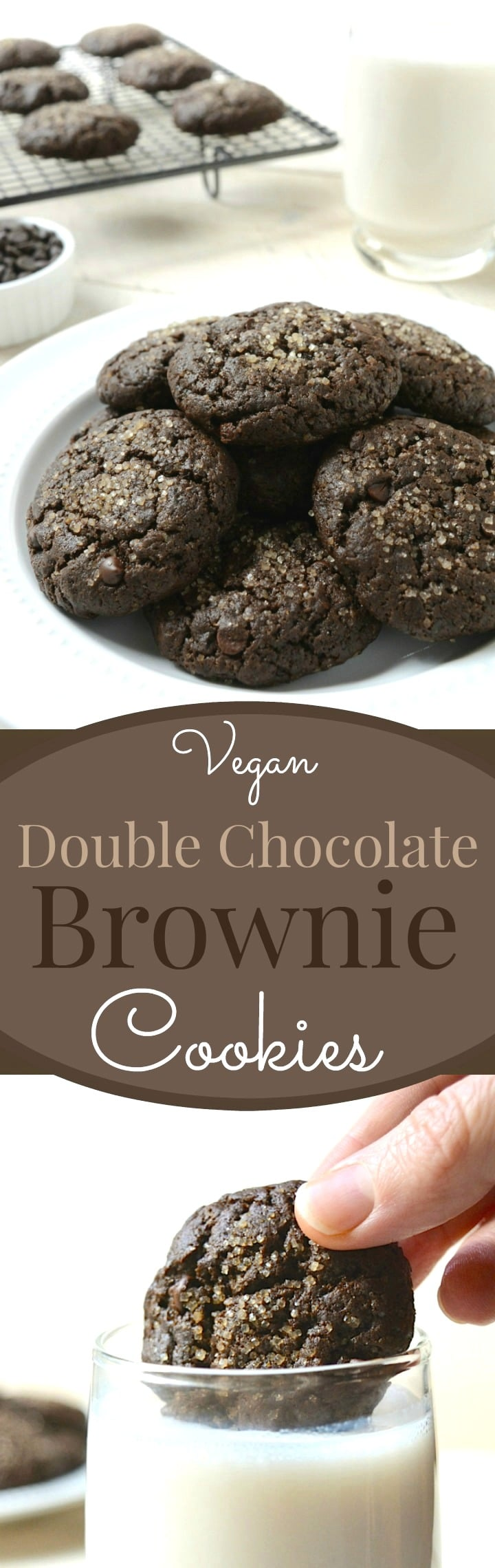 Double Chocolate Brownie Cookies are a decadent brownie crammed into a cookie then loaded with chocolate chips.  They are egg-free, dairy-free and made with 8 simple ingredients you probably have on hand! #veganrecipe #vegancookies #chocolate #vegankids