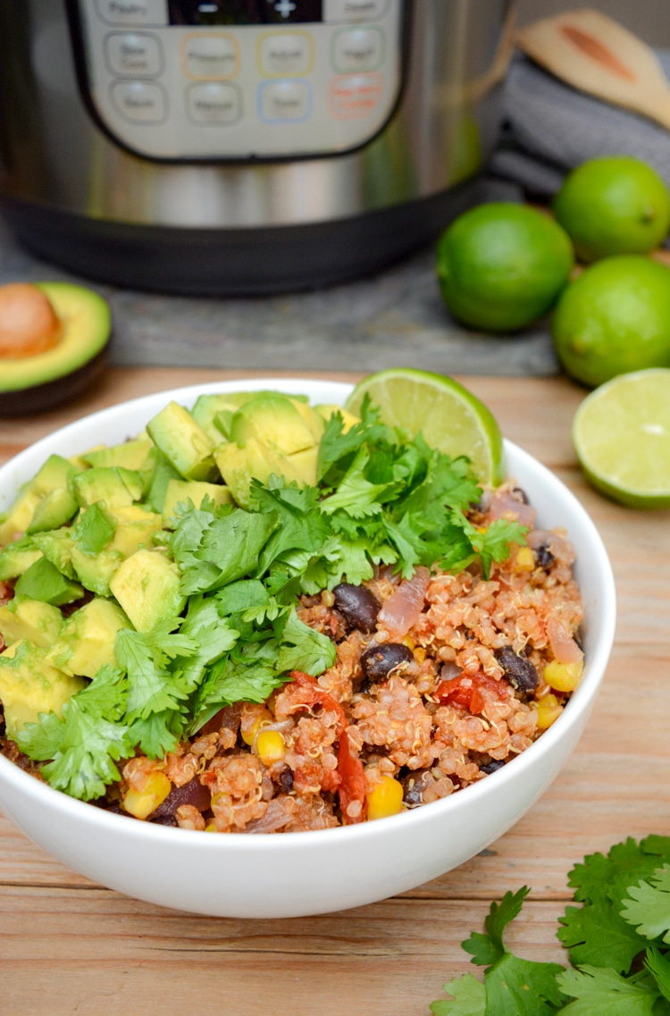 A serving of Instant Pot Mexican quinoa bowl.