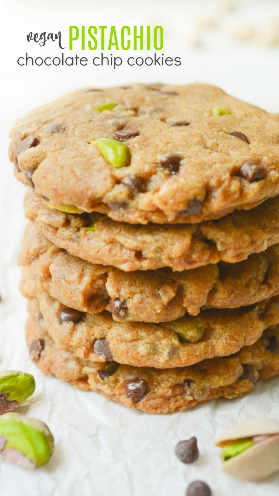 A stack of 5 vegan pistachio cookies.