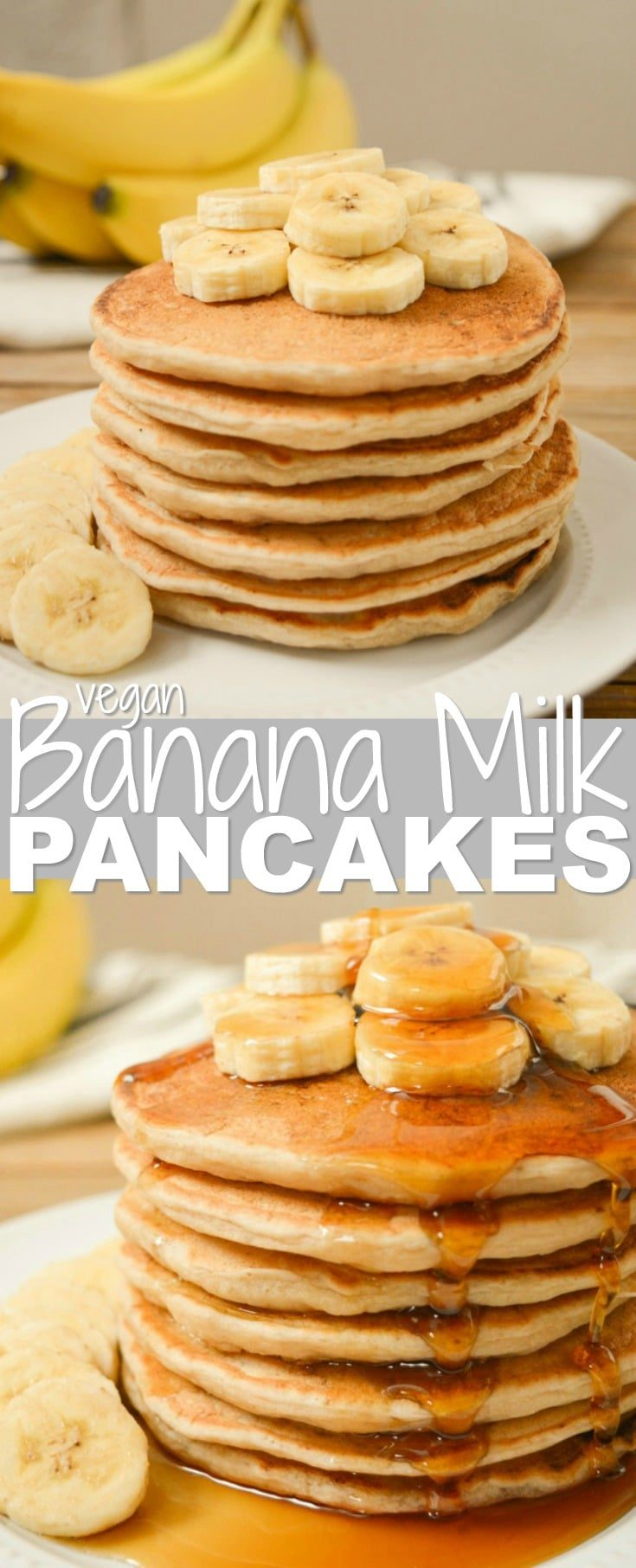 Vegan Banana Milk Pancakes are an egg-free, dairy-free and nut-free breakfast!  Sweet, ripe bananas and coconut sugar keep these pancakes refined-sugar-free as well!  Top your stack of banana-filled pancakes with extra banana slices and a drizzle of maple syrup for an easy weekend brunch!  #veganpancakes #dairyfree #eggfree #veganrecipes #bananarecipe #bananapancakes #veganbreakfast #veganbrunch