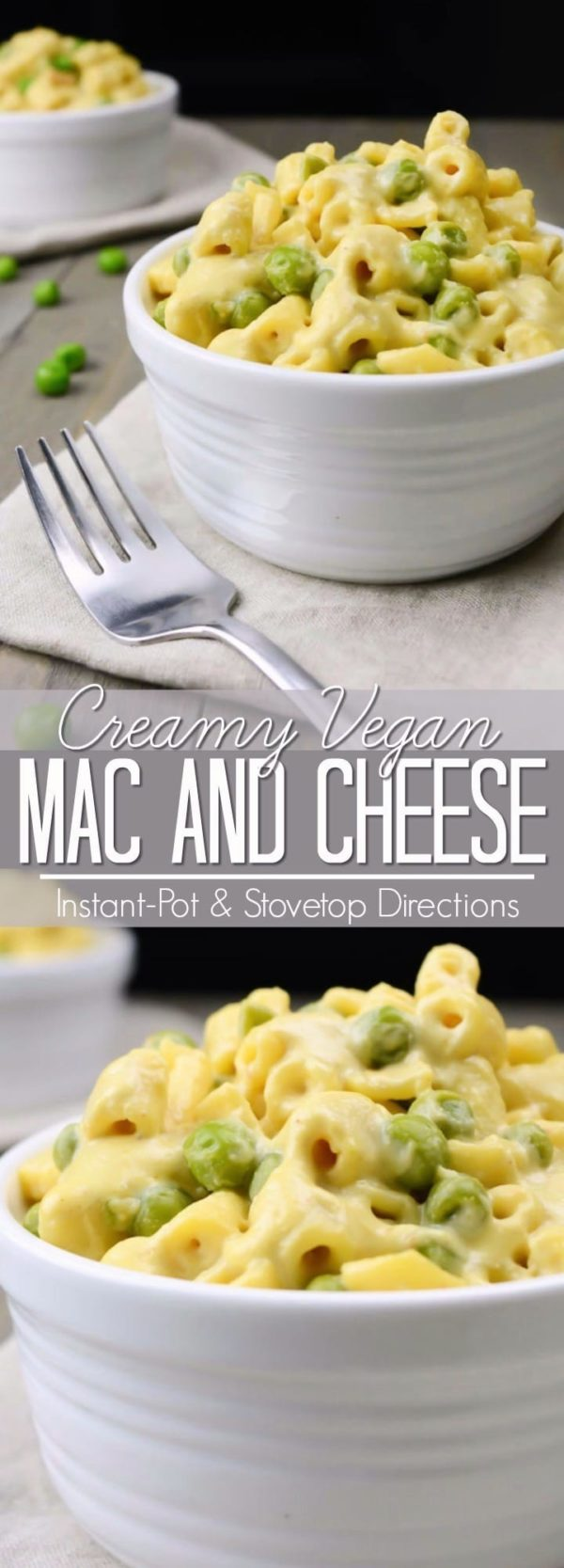 Vegan mac and cheese collage for Pinterest.