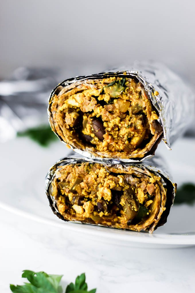 freezer friendly burrito wrapped in foil.