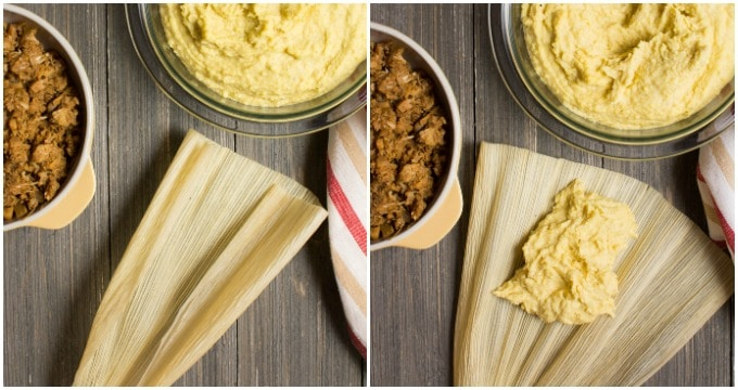 Collage of steps to spread the masa for vegan tamales.