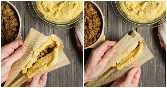 Collage of steps to closing the vegan tamales.