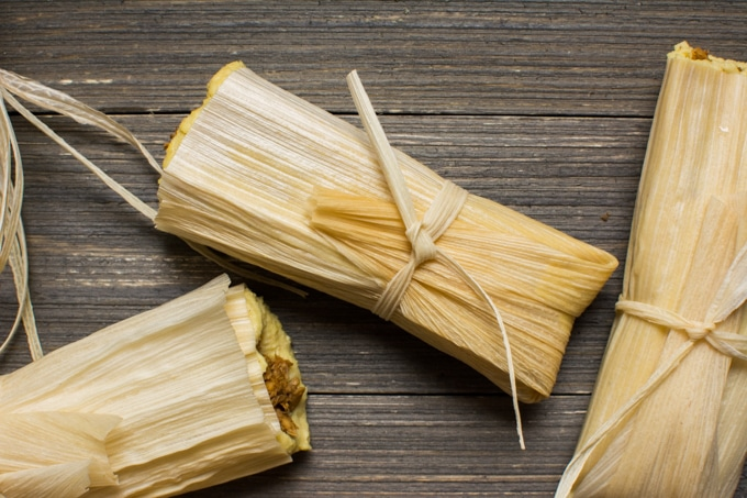 Three completed vegan tamales.