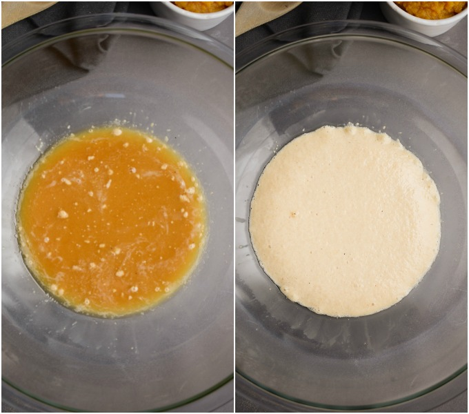 Before and after steps of yeast activating in a bowl.