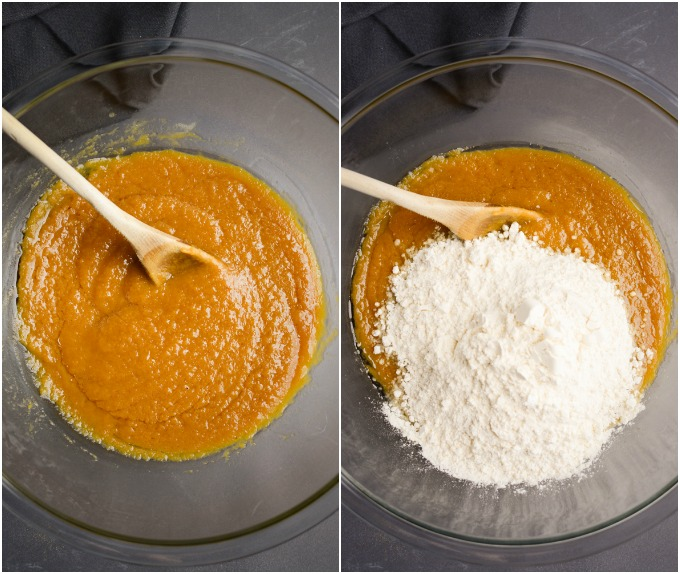 Collage of steps: mix pumpkin puree into activated yeast and adding the flour.
