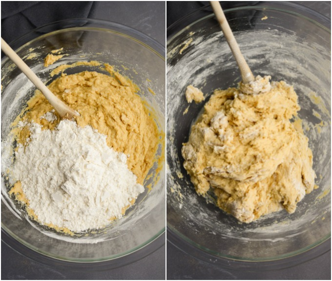 Mixing dough in a glass bowl.