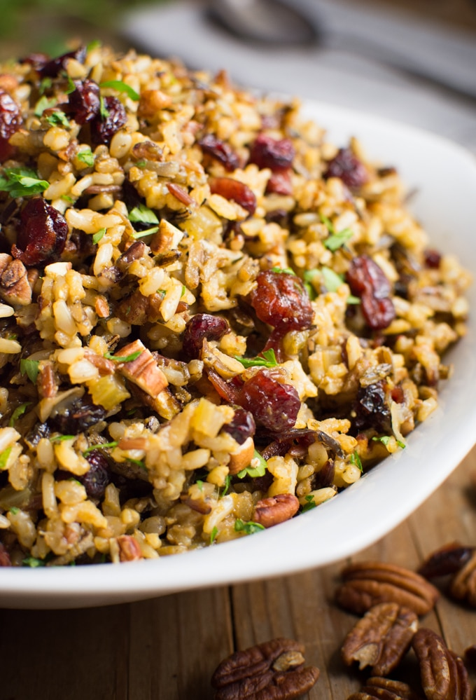 Close up of gluten-free wild rice stuffing with cranberries and pecans.