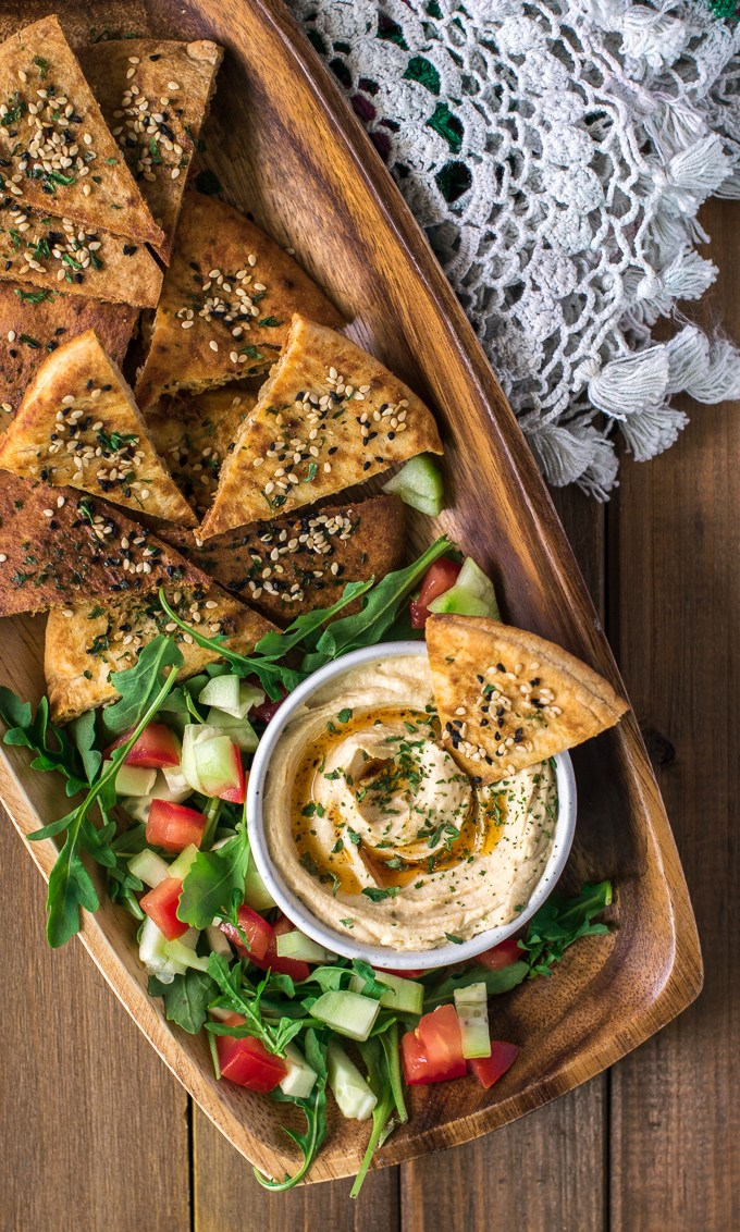 vegan party food favorites - pita chips