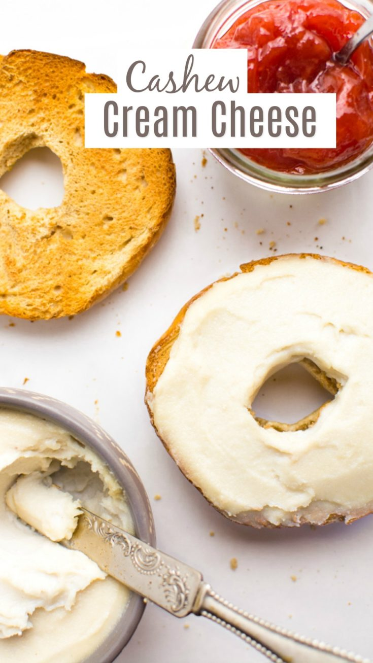 Cashew cream cheese is the perfect homemade dairy-free alternative.  It's tangy, creamy and spreadable.  Whips up in about 5 minutes and lasts all week in the fridge.  Slather this vegan cream cheese on bagels or toast for an easy grab-n-go breakfast. #veganbreakfast #cashewcreamcheese #veganrecipes #dairyfree