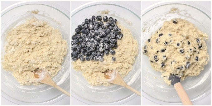 Vegan blueberry breakfast cake collage of steps for mixing the batter and folding in blueberries.