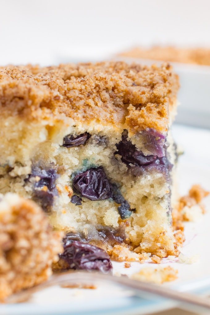 vegan blueberry breakfast cake with bite on fork.