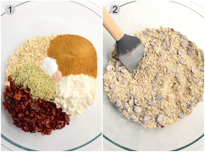 Breakfast cookies process of mixing dry ingredients in a bowl.