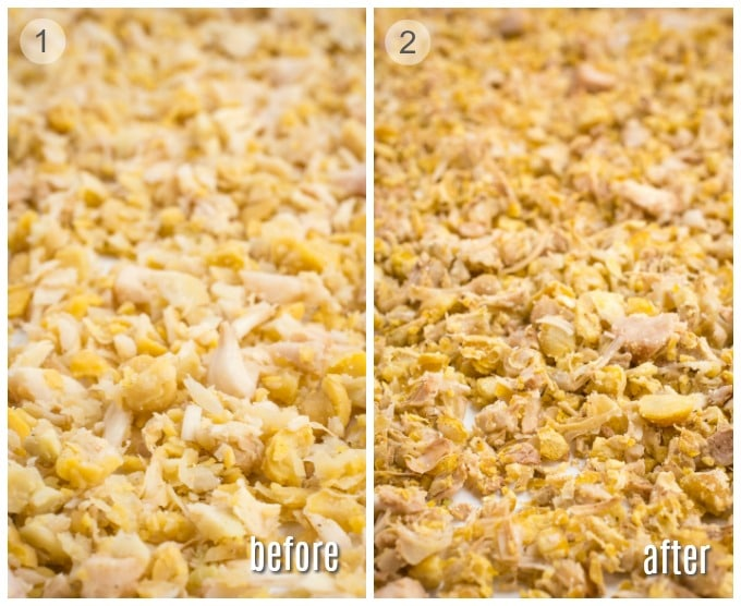 "Chickpea and jackfruit ""vegan chicken"" mixture before and after baking."