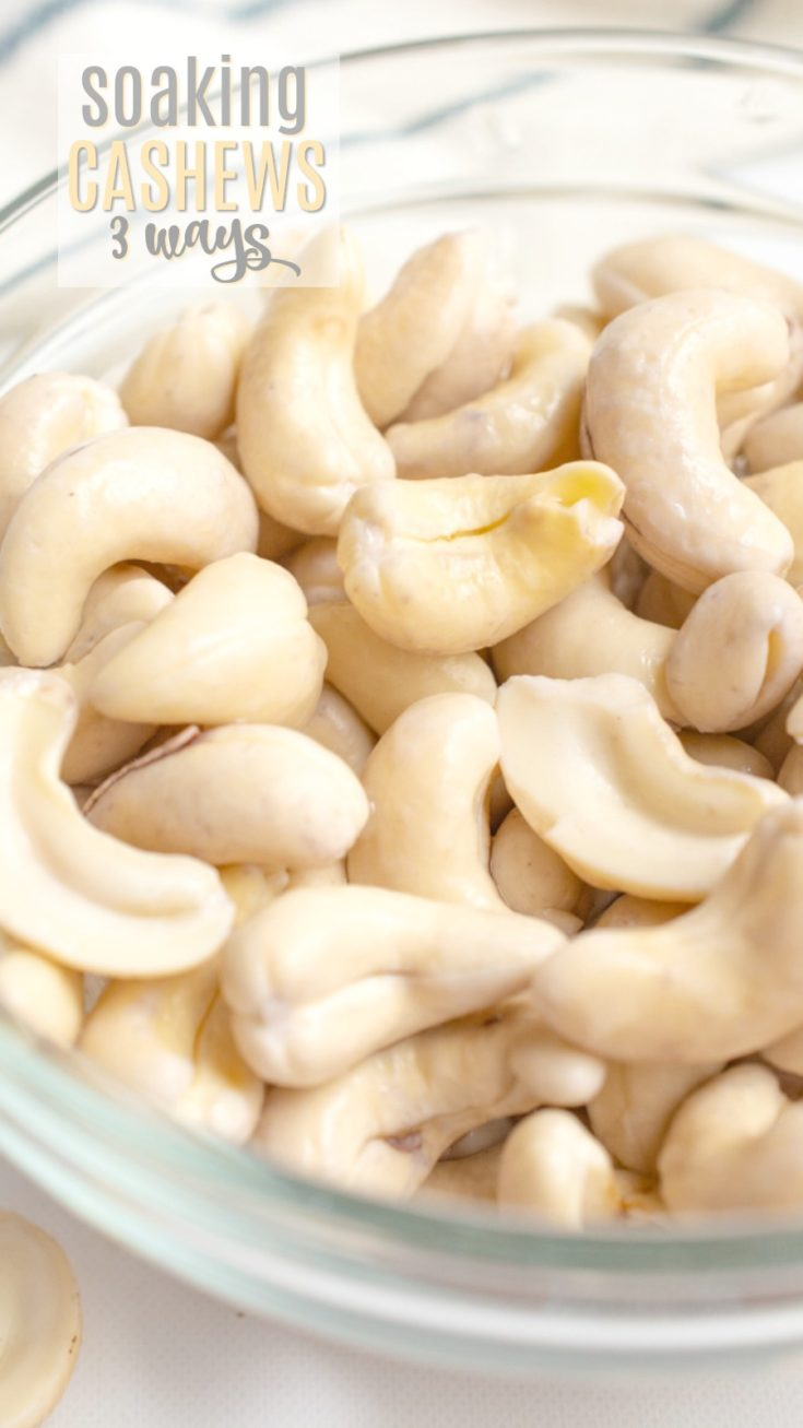 Soaking cashews is an essential step to creating creamy cashew-based recipes.  Most recipes will have their own soaking process, but it may not always work for your schedule.  I've compiled the top 3 ways to soak cashews, fast or slow, so you can choose the method that works best for you!  Whether you have the time to soak them overnight, or only 15-30 minutes to soften the nuts, this post has you covered. #cashews #vegandressing #vegansauce #cashewcream