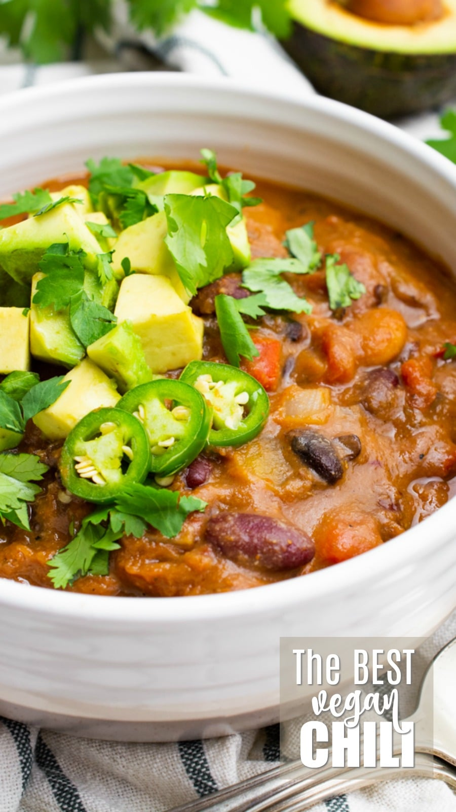 The best vegan chili in a bowl.