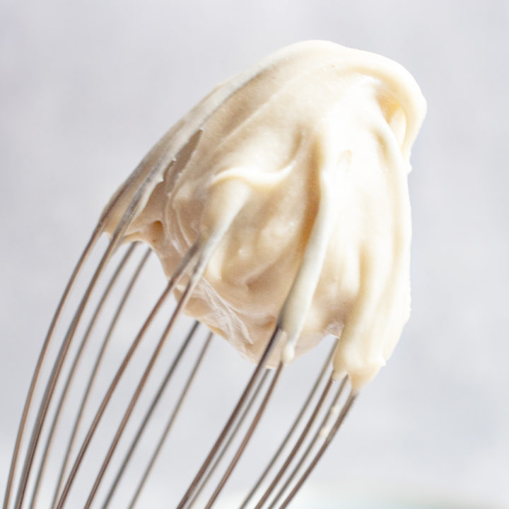 vegan frosting on a whisk.