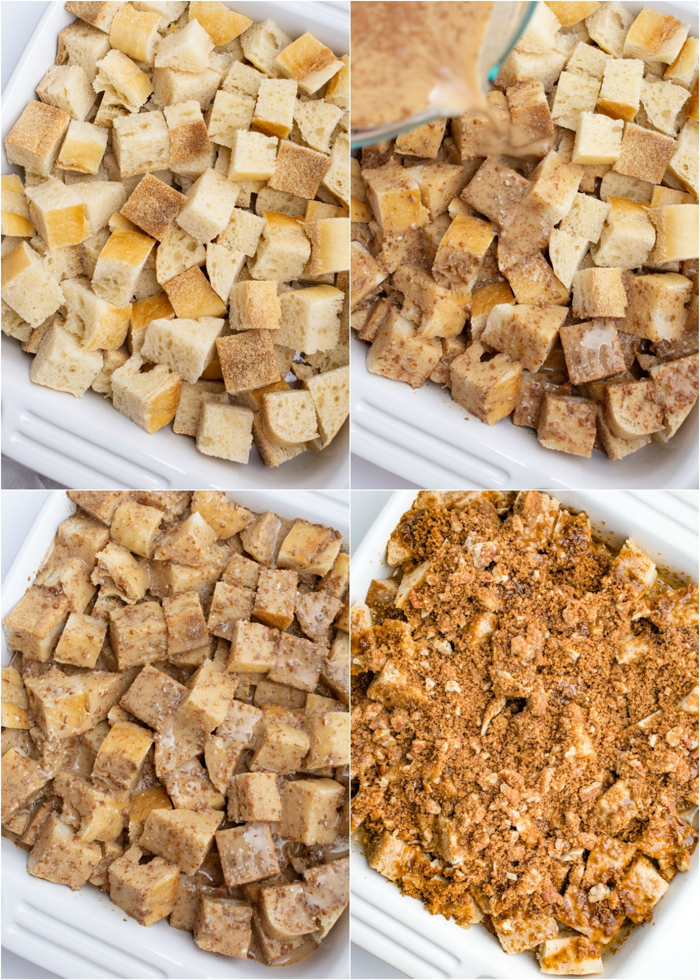 Vegan french toast casserole process steps.