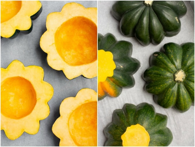 Steps for preparing and roasted acorn squash.
