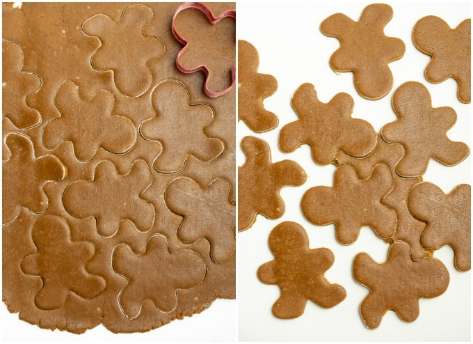 Process steps for cutting out gingerbread cookie dough.