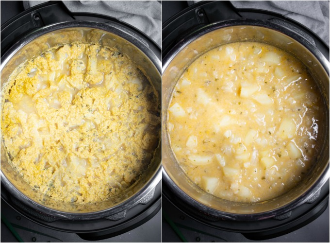 Steps to mixing Instant Pot potato soup after cooking.