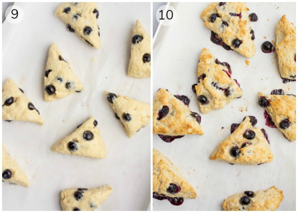 Collage of blueberry scones on a baking sheet before and after baking