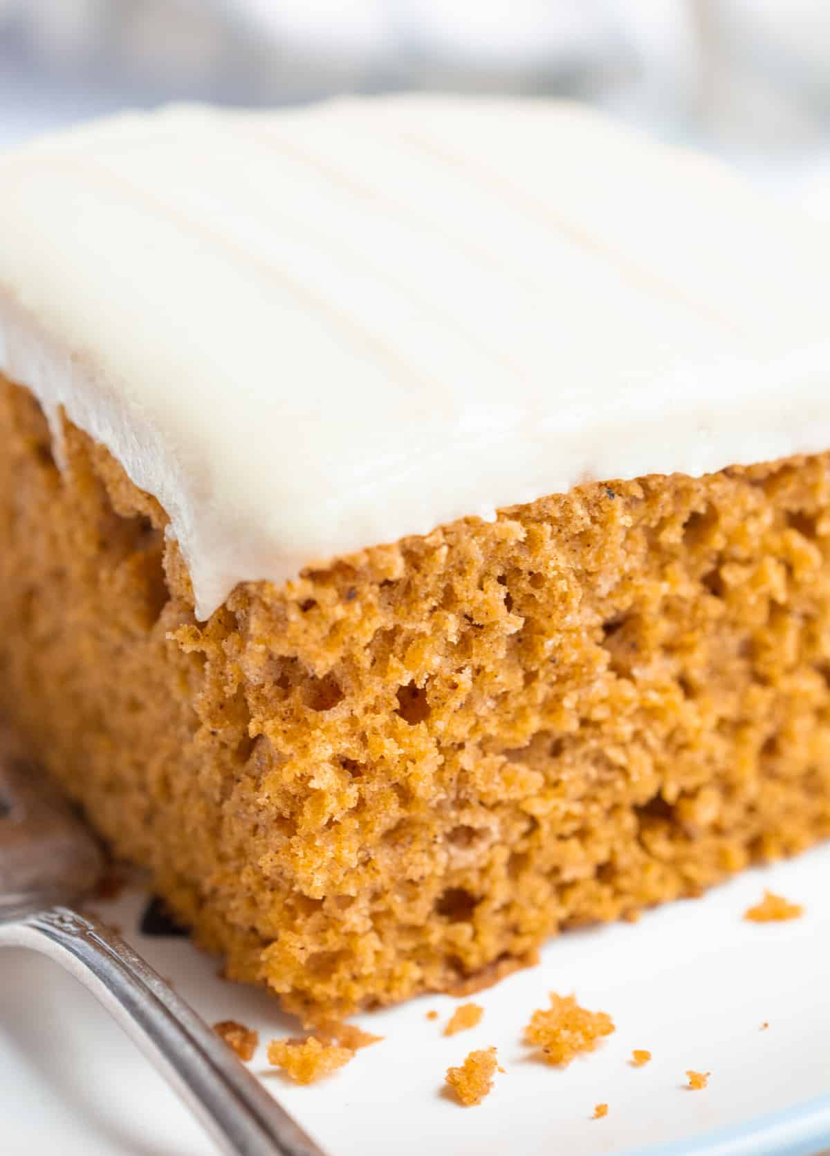 Close up of a slice of pumpkin cake with frosting.