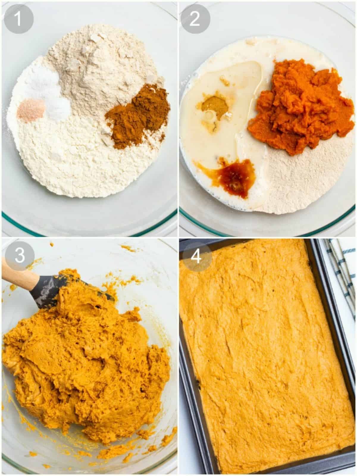 Process steps for making pumpkin cake batter.